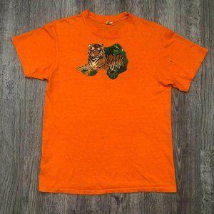 VTG 80s Orange Single Stitch Hanes Tiger T-Shirt
